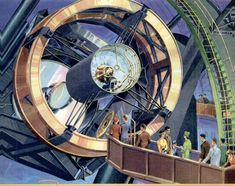 Artwork by Popular Mechanics 1939 of the Hale telescope at Palomar (based on an earlier sketch by Russell W. Porter) Space Telescope, Light Year, Popular Mechanics, Astronomy, Sketch, Artwork, Sketch Drawing, Work Of Art, Telescope