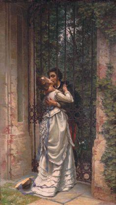Allason, Silvio (b,1845)- Kissing Through Gate -2b http://www.flirt-local.com/?siteid=1713448
