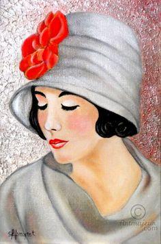GLAMOUR Nº 17 - Картина,  18x24x1 cm ©2016 - Carmen G. Junyent -                                                                                                                                                                        Арт-деко, Арт-нуво, Изобразительное искусство, Наивное…