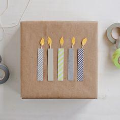 Washi Birthday Candles Gift Wrap – 30 DIY Eco-Friendly Gift Wrapping Ideas Source by wisdominajar Creative Gift Wrapping, Present Wrapping, Creative Gifts, Diy Wrapping, Gift Wrapping Ideas For Birthdays, Wrapping Papers, Diy Birthday Wrapping Ideas, Cute Gift Wrapping Ideas, Creative Ideas
