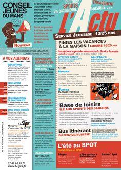 Dernière réalisation graphique pour la ville du Mans - Programme A4 couleur R°/V° - L'ACTU - Aux couleurs de la communication CONSEIL JEUNES DU MANS