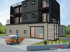 CAFÉ + CONTAINER HOUSE _ 3층 규모의 2개의 40ft 컨테이너 + 6개의 20ft 컨테이너로 지어진 컨테이너 카페&게스트하우스 _ 게스트하우스이외 기숙사, 다가구 주택등 다양한 용도로 적용 ...