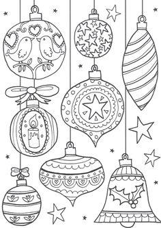 Risultati immagini per disegni natalizi  da colorare sfere decorative