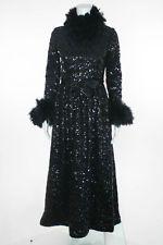 VINTAGE OSCAR DE LA RENTA Black Fully Sequined Feather Trim Evening Gown Sz M