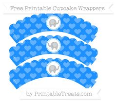 Free Dodger Blue Heart Pattern  Baby Elephant Scalloped Cupcake Wrappers