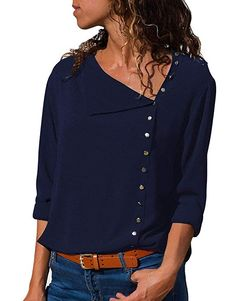 Chiffon Blouse 2018 Fashion Long Sleeve Women Blouses and Tops Skew Collar Solid Office Shirt Casual Tops Blusas Chemise Femme Stylish Jeans, The Office Shirts, Outfits Damen, Beachwear For Women, Bleu Marine, Casual Tops, Casual Pants, Comfy Casual, Shirt Blouses