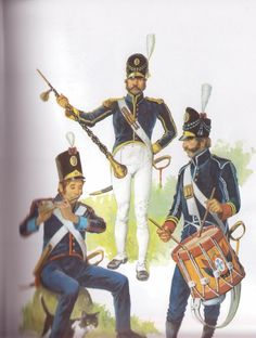 Picture 1. Infantry Regiment No.11 (Viseu), Fifer in winter uniform (1810-15). (Note the braiding in the sleeves, and the leather case to protect the fife). Picture 2: Infantry Regiment No.9 (Viana), Drum Major in summer uniform (1806-1810) (Note that the soldier holds the rank of 2nd Regiment, also the braiding on the sleeves, around the cuffs and also the collar). Picture 3: Infantry Regiment No.4 (Lisbon), Drum Corporal in winter uniform (1806-10).