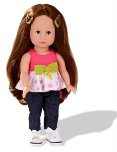 Chloe has blue eyes and wears very long brown hair.The dolls of the Just Like Me collections have not only their own names, they also have their own personality. Hair and eye color are different, so each represent a very unique character.