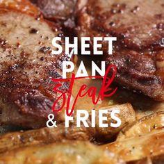 Sheet Pan Steak & Fries // #steak #fries #grill #dinner #beef #tasty