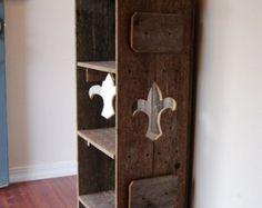 Wood Bookcase. French Furniture Fleur De Lis Decor. Raw Wood Furniture. Handcrafted Furniture. Wooden Shelf. Louisiana Saints Decor