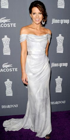 Kate Beckinsale  WHAT SHE WORE  Beckinsale chose an off-the-shoulder Vivienne Westwood gown and oversize Bochic danglers for the Costume Designers Guild Awards in Los Angeles
