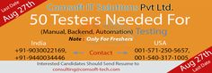 Comsoft IT Solutions is looking for Software Testers with solid exposure to Testing Tools concepts, etc.  Note: Only For Freshers  More Details at : http://www.comsoft-tech.com/  Submit Your Resume to consulting@comsoft-tech.com  Last Date of Submission : 27-8-2014
