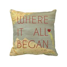 Custom Designed Large Vintage Map Pillow by GeezeesCustomCanvas, $155.00
