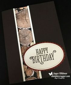 I love the WOW factor of this card. I made this recessed panel for the first time. I used the Wood Textures designer series paper, Happy Birthday Gorgeous stamp set, Layering Oval Framelits and Stitched Shapes Framelits from Stampin' Up!. It was a fun technique for this handmade masculine birthday card.