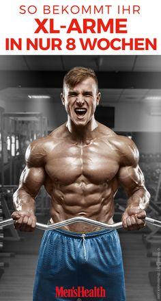 Muskuläre Oberarme füllen nicht nur attraktiv euer T-Shirt aus. Mit unserem Trainingsplan für Bizeps und Trizepsund Ernährungsplan könnt ihr euch in nur 8 Wochen starke XL-Arme antrainieren.