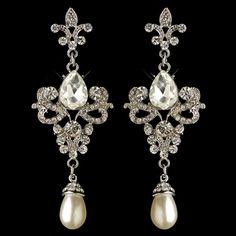 Fleur de Lis Vintage look Crystal and Pearl Wedding and Formal Earrings -  - Affordable Elegance Bridal -