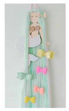 How to Make Unicorn Horns Out of Felt - - Mermaid hair bow holder hair bow organizer mermaid hair clip Girl Nursery, Girls Bedroom, Trendy Bedroom, Nursery Room, Hair Bow Storage, Diy And Crafts, Crafts For Kids, Paper Crafts, Mermaid Bedroom