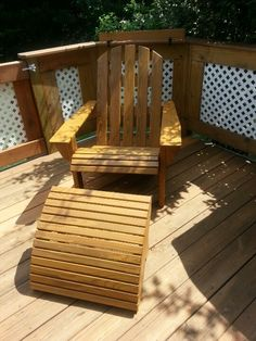 Relaxing on the deck with a made at home adirondack chair and ottoman