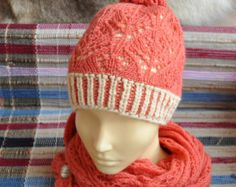 Womens Knit Cap. Winter hat hand made. 2 color brioche and openwork knitting. Hat hand knitted light red. Double cap - Edit Listing - Etsy