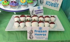 Frozen heart strawberries at an Olaf summer birthday party! See more party planning ideas at CatchMyParty.com!