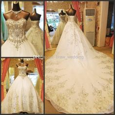 Wholesale Sweetheart Wedding Dress - Buy New Sweetheart Luxury Crystal Bridal Gowns Custom Size Monarch Royal Train A Line White Short Sleeveless Sequins Appliques Wedding Dresses, $355.2 | DHgate
