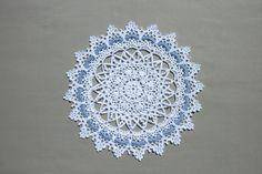 Lace crochet doily 13,5 inches Crochet round doily White crochet doily Blue crochet doily White lace doily Crochet napkin White napkin by CrochetedCosiness on Etsy