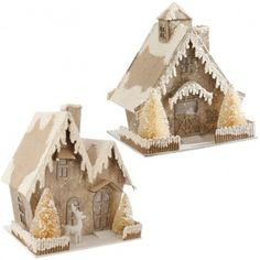 """These minature cabins light up and add that extra bit of magic to your home in the evenings. 8.5"""""""" x 8"""""""" x 6.5""""""""  Requires 3 AAA Batteries"""