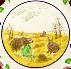 Stick Spatter, Rabbitware Charger, Rabbits and Frog, Virginia Rose Border. England circa 1875 to 1900