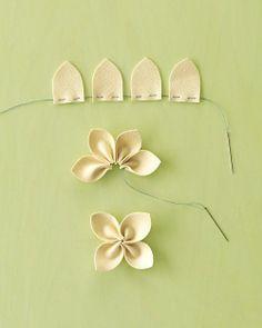 DIY material flowers... so cute