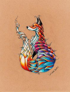 The Fox Art Print by nikkibeth Animal Drawings, Cool Drawings, Fuchs Tattoo, Tree Tattoos, Deer Tattoo, Raven Tattoo, Tattoo Ink, Arm Tattoo, Hand Tattoos