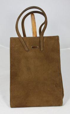 Vintage Handbag Brown Faux Suede Purse by by ilovevintagestuff