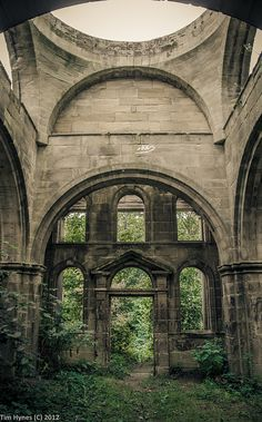 Abandoned mausoleum in Seaton Delaval Hall - a Grade I listed country house in Northumberland, England.
