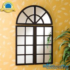 3 Piece / Panel Windowpane Wall Mirror Set Arched Distressed Black.  $129.99