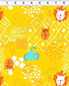 Savannah Animals on Gold - Serengeti Beasties - Clothworks Fabrics - Organic Cotton - Poplin by the Yard