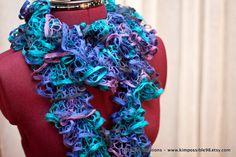 Flounce Ruffle Scarf - Bright blues, greens and pinks - CHRISTMAS SALE. $15.00, via Etsy.