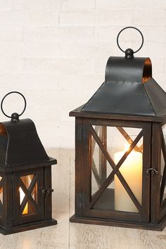 Wood & Metal Lanterns - Perfect For The Mantel