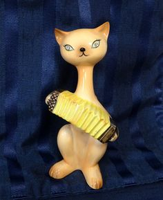 Vintage Siamese Cat with Accordion Enesco by CurioCabinet on Etsy, $22.00