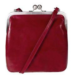 BT14 IDA vintage cardinal Discotasche kleine Handtasche Ledertasche in rot Damen Leather bag mit Riemen Bügeltasche