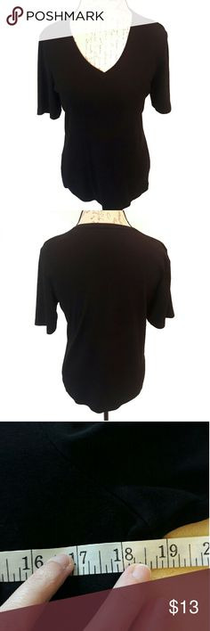 Chico's ⏺️ basic black shirt Very versatile short sleeve shirt. Very soft material. Size 2 (medium). Measurements provided in pics above. From a smoke and pet free home. Fast shipping! Office - Vacation - Wedding - Fun - Dress up - date night - cruise - spring - summer *IF YOU LIKE MY ITEMS, please FOLLOW ME to see NEW ARRIVALS that are added weekly! * Chico's Tops Tees - Short Sleeve