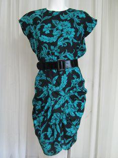 Vintage 80s Black Slinky Polka Dot Boxy Blouse women small medium gold polka dots Bentley made in USA short sleeve sheer flowy abstract