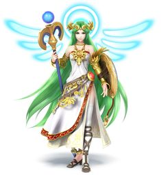 """""""You shall be purified!""""  Official art of Palutena from Kid Icarus for Super Smash Bros. 3DS and Wii U.  I would like to cosplay her as well as Princess Zelda."""