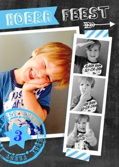 feestje jongen foto strip ster - Uitnodigingen - Kaartje2go