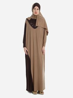 Elegant Prayer Dress Isdal Beige and Brown With Hijab