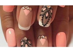 Evening dress nails Evening nails Festive nails Ideas of peach nails Luxurious nails Luxury nails Original nails Peach and white nails Fabulous Nails, Perfect Nails, Gorgeous Nails, Fancy Nails, Cute Nails, Pretty Nails, Nail Art Design Gallery, Best Nail Art Designs, Peach Nails