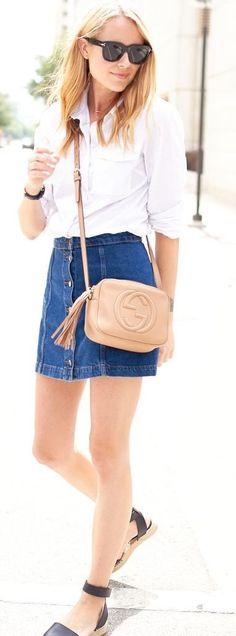 White Shirt + Button Front Denim Skirt                                                                             Source