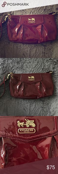 NWOT Coach wristlet, Madison red Patent Leather ✨ NWOT Coach wristlet, Madison red Patent Leather. Absolutely stunning wristlet!! ❤️ Coach Bags Clutches & Wristlets