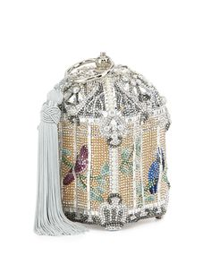 Judith Leiber Couture Birdcage Crystal Clutch Bag, Silver Champagne