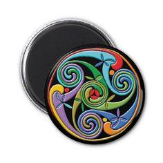 Piękne Celtic Mandala z Kolorowe Wiry Magnet