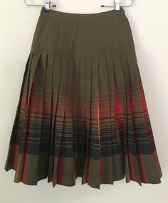 Pendleton Wool Red Orange Green Plaid Pleated Reversible Turnabout Skirt Sz 0 XS #Pendleton #Pleated