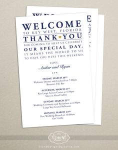 Itinerary Cards for Wedding Hotel Welcome Bag - Printed Schedule - Destination Wedding - Welcome Bag Card - Program - Wedding Weekend